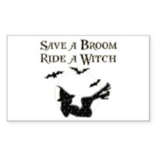 Save a Broom Ride a Witch Rectangle Decal