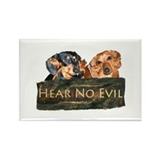 Hear No Evil Dachshund Dogs Rectangle Magnet
