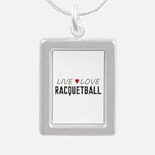 Live Love Racquetball Silver Portrait Necklace