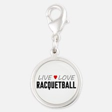 Live Love Racquetball Silver Round Charm