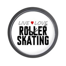 Live Love Roller Skating Wall Clock