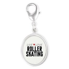 Live Love Roller Skating Silver Oval Charm