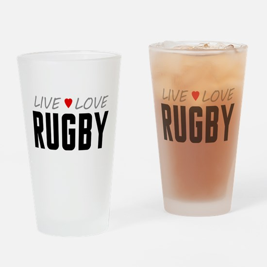 Live Love Rugby Drinking Glass