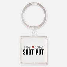 Live Love Shot Put Square Keychain