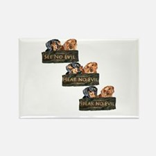 No Evil Dachshund Dogs Rectangle Magnet