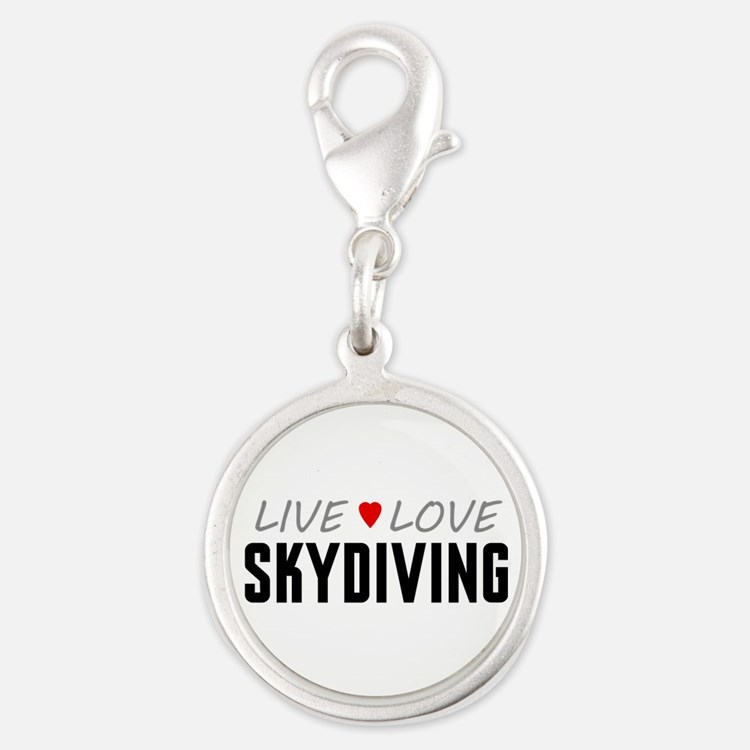 Live Love Skydiving Silver Round Charm