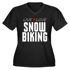Live Love Snow Biking Women's Dark Plus Size V-Nec