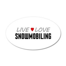 Live Love Snowmobiling 38.5 x 24.5 Oval Wall Peel