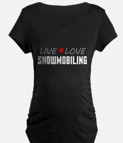 Live Love Snowmobiling Dark Maternity T-Shirt