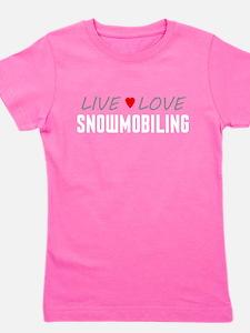 Live Love Snowmobiling Girl's Dark Tee