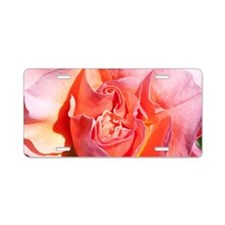 Pink Coral Colour Rose Aluminum License Plate