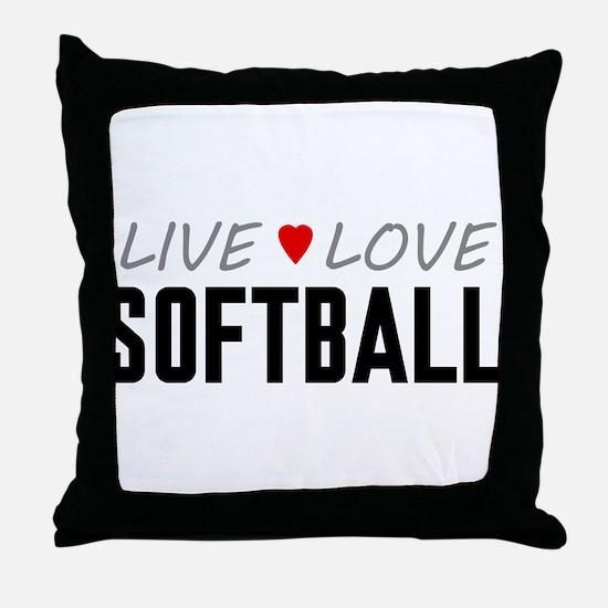 Live Love Softball Throw Pillow