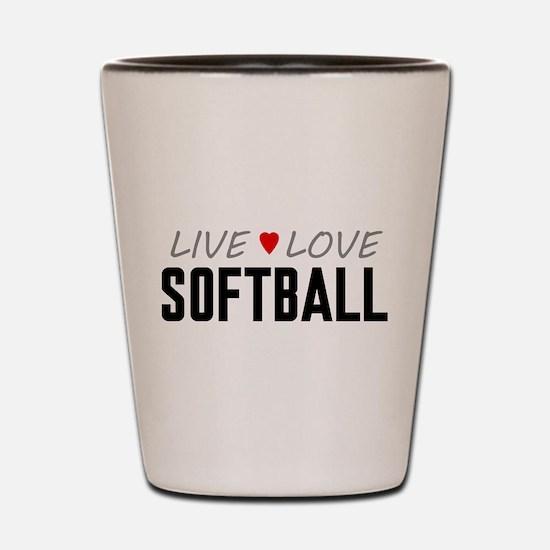Live Love Softball Shot Glass