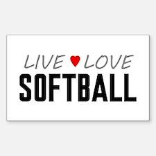 Live Love Softball Rectangle Sticker (10 pack)