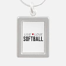 Live Love Softball Silver Portrait Necklace