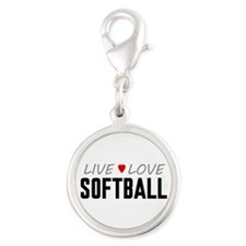 Live Love Softball Silver Round Charm