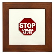 Stop Animal Abuse Framed Tile