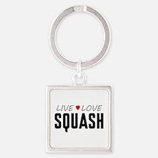 Live Love Squash Square Keychain