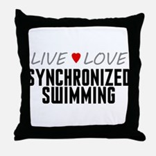 Live Love Synchronized Swimming Throw Pillow