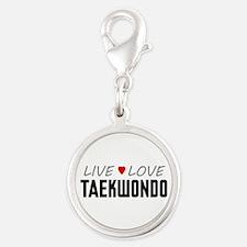 Live Love Taekwondo Silver Round Charm