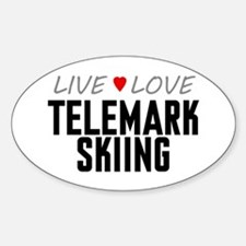 Live Love Telemark Skiing Oval Decal