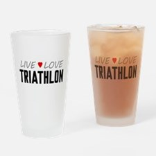 Live Love Triathlon Drinking Glass