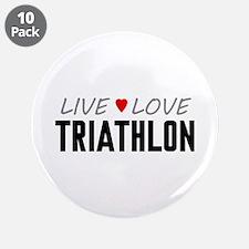 """Live Love Triathlon 3.5"""" Button (10 pack)"""