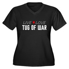 Live Love Tug of War Women's Dark Plus Size V-Neck