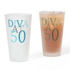 Diva At 50 Drinking Glass