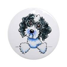 Black Parti Cockapoo Lined Ornament (Round)