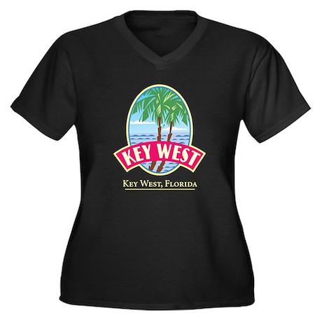 Retro Key West - Women's Plus Size V-Neck Dark T-