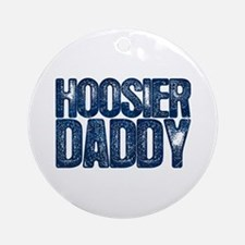 Blue Hoosier Daddy Round Ornament