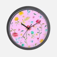 Watercolor Abstract Peony with Pink Bac Wall Clock