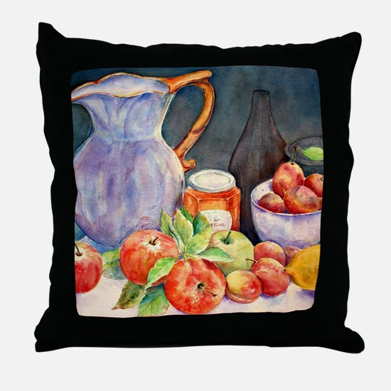 Watercolor Fruit Jug Still Life Throw Pillow