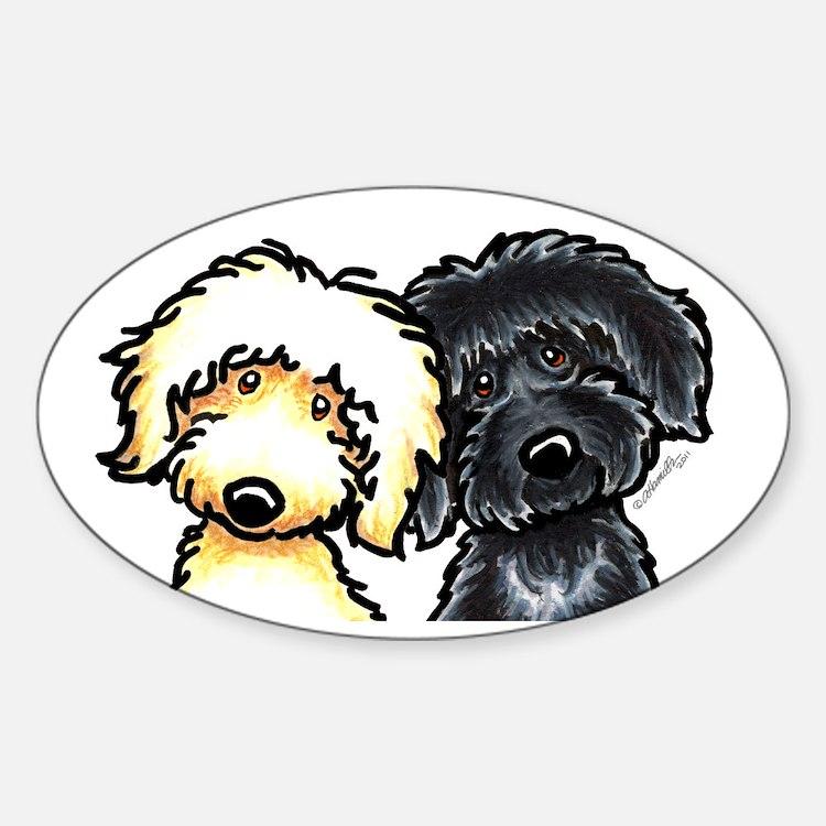 Cute Golden doodles Sticker (Oval)