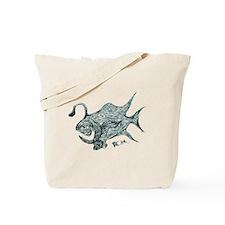 Green Chrome Retro Fish. Fish Retro Tuna Tote Bag