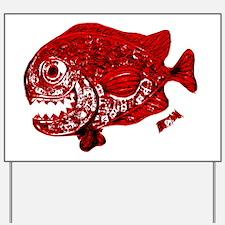 Red Chrome Chompers. Fish Retro Tuna RCM Yard Sign