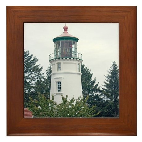Umpqua River Light with Trees Framed Tile