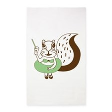 Squirrel on the beach Area Rug