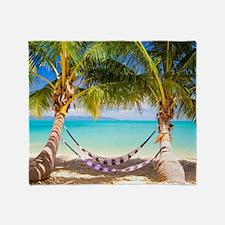 Hammock on Tropical Beach Throw Blanket