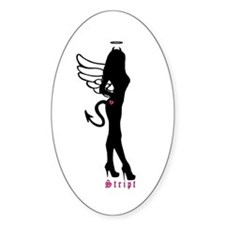 Standing Silhouette Angel Oval Decal