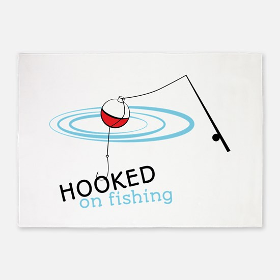 Hooked on fishing pole and hook 5'x7'Area Rug
