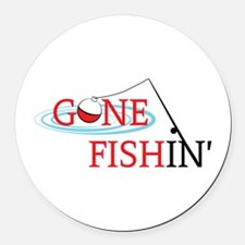 Gone fishing bobber and fishing pole Round Car Mag