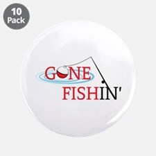 """Gone fishing bobber and fishing pole 3.5"""" Button ("""
