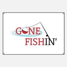 Gone fishing bobber and fishing pole Banner