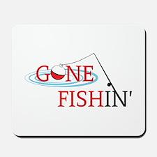 Gone fishing bobber and fishing pole Mousepad