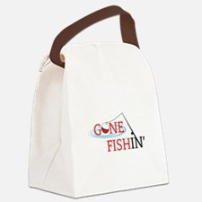 Gone fishing bobber and fishing pole Canvas Lunch