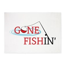 Gone fishing bobber and fishing pole 5'x7'Area Rug