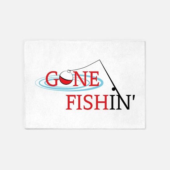 Gone fishing bobber and fishing pole 5'x7'Area Rug