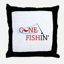Gone fishing bobber and fishing pole Throw Pillow